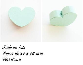 21 x 16 mm wooden bead, Pearl flat heart: sea green