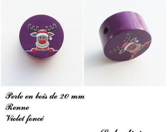 Wooden bead of 20 mm, flat bead, reindeer: dark purple