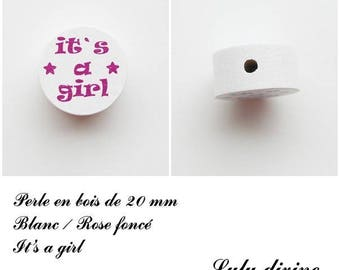 Wooden bead of 20 mm, flat bead, It's a girl: white / dark pink