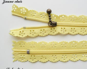 Zipper yellow lace light 20 cm not separable sold individually
