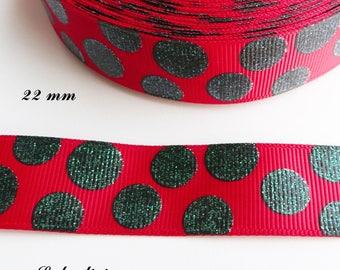 Ruban gros grain blanc liseré rouge Coccinelle de 22 mm vendu au mètre