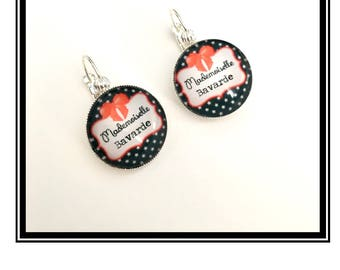 "Earrings & single ""Miss Chatterbox"" personalized, derision, heart, bow, red, black, Crown, humor"