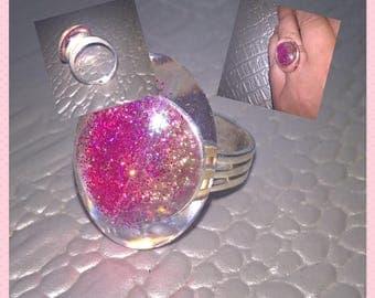Translucent silver metal Adjustable ring