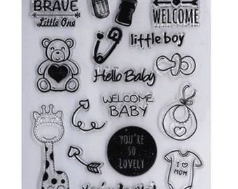 Stamps silicone - clear Stamp - themed baby / baby / child / giraffe / nipple / bib / hello