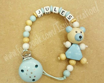 Personalized wooden pacifier clip