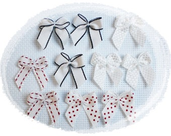 Fancy bows with polka dots, gingham, plain white - set matching orange bows - sewing embellishment