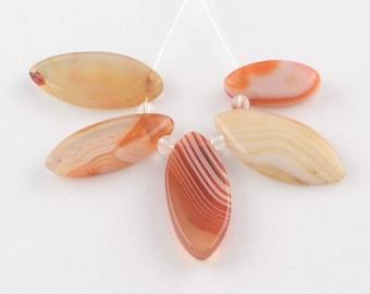 5 pendants diamond orange striped agate - stone bead fine Rhombus orange - striped agate stone orange gemstone