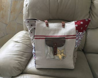 Large silver linen tote bag