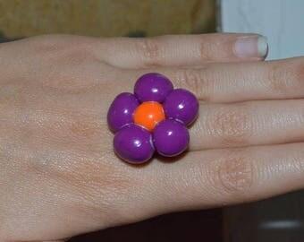 Flower ring purple and orange balls