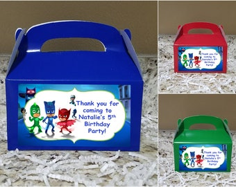 Sale! 12 PJ Masks Treat Boxes, PJ Masks Gable Boxes, PJ Masks Candy Boxes, Pj Masks Party Boxes