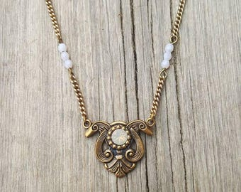 Light pink /opalescent grey Czech glass bead & gemstone antique brass necklace Art Nuevo  style