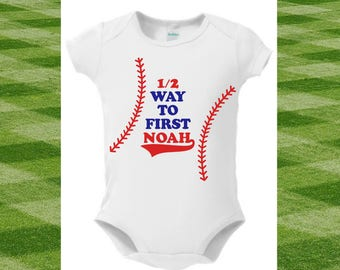 Half Birthday Boy∙Half Birthday Onesie∙Half Birthday Outfit∙6 Month Outfit Boy∙Half Birthday Bodysuit∙Half Birthday for Boy∙Baseball∙Creeper