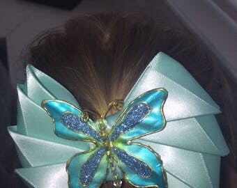 4.5 Sea Green, satin bow with butterfly accent hair clip