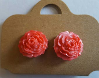 Handmade Marbled pink/peach fimo rose stud earrings
