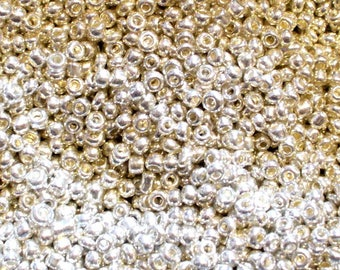 Silver seed beads 2mm silver PORTHOLE 5 grams