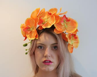 Vibrant Orange Orchid Flower Crown Headdress Festival Headpiece Fascinator