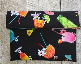 Tropical Paradise Clutch, Foldover Clutch or Makeup Bag
