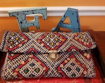 Vintage Moroccan Kilim Clutch Handbag
