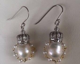Vintage crown & baroque pearl earrings