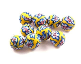 X 10 beads 12mm yellow polymer clay