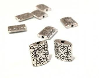 X 2 metal beads 13x10mm rectangles