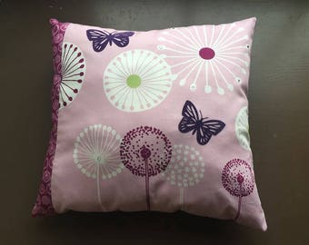 Elegant botanical printed cotton cushion