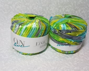 On Line Linie 114 Space Ribbon Yarn ~ Multi Color ~ Greens, Yellows, Blues #65051 ~ Lot of 2