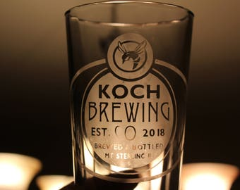 Beer Glass/Pint Glass/Etched Pint Glass/Groomsmen Gift/Custom Pint Glass/Brewery Glass