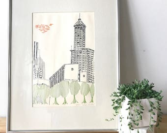 Smith Tower Seattle Print by John Sollid - Framed, Signed, Numbered
