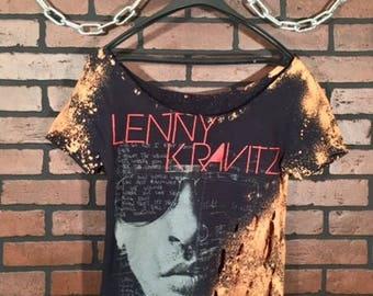 Lenny Kravitz-Distressed Vintage Band Tee- Large-Vintage Concert Shirt-Rock Style- Rock-Funk Rock-Soul- Rock Music-Concert Shirt-Grunge