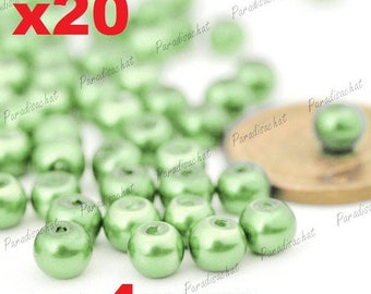 20 beads glass Pearl 4mm Green colors ref5