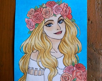 Drawing Original - woman with flowers size A6