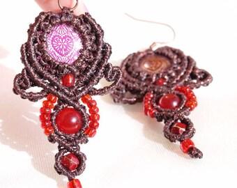 Brown boho style macrame agate earrings. Macrame jewelry. Heart earrings. Bohemian jewelry. Gemstone jewelry. Tribal jewelry. Ethnic jewelry
