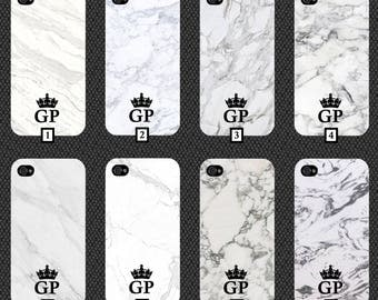 Personalised White Marble Phone Case With Black Initials and Crown Customised Cover Cheap Effect Stone Your Personalise Black White Plain