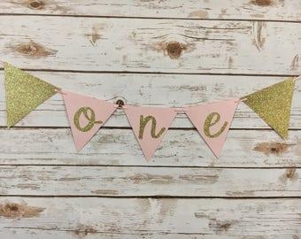 "High Chair Banner | Pink, Gold Banner | ""One"" Banner | First Birthday | Princess Birthday | Fairy Birthday |"