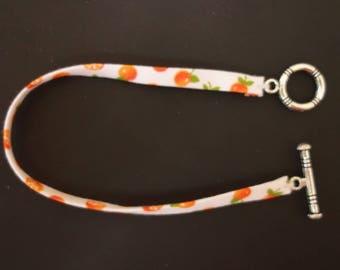 Mini Orange citrus fabric bracelet