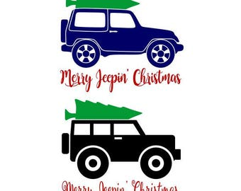 Merry Jeeping Christmas Cuttable Design SVG PNG DXF & eps Designs Cameo File Silhouette