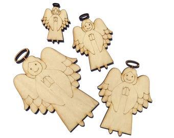 Blank Wooden Angel Plywood Scrapbooking Embellishment Wedding Decor Christmas
