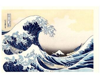The Great Wave off Kanagawa (Katsushika Hokusai) N.1 ukiyo-e woodblock print