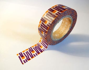 Masking tape graphic purple and orange - washi tape - Scrapbook - embellishment