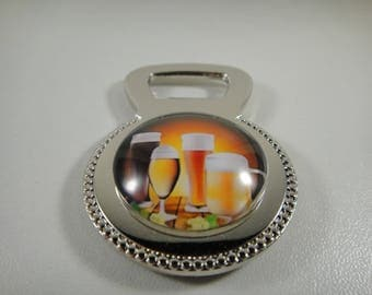 Bottle opener magnet with 30mm glass cabochon