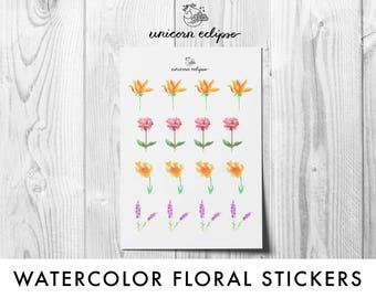 Watercolor Floral Planner Stickers || planner stickers, floral stickers, decorative stickers, watercolor stickers || unicorneclipse