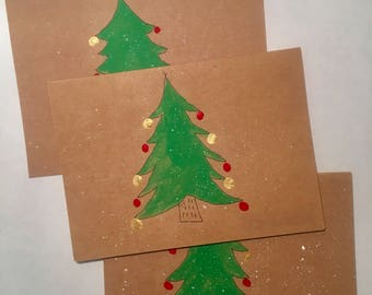 3 Rustic Christmas Tree Holiday Cards with Shiny ornaments