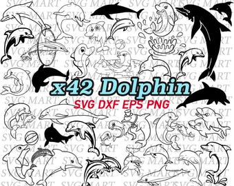 dolphin svg, sea animal svg, sea creature, clipart, decal, stencil, vinyl, line art, cameo silhouette, cut files, vector