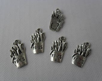 """Set of 5 """"Fries"""" antique silver charms"""