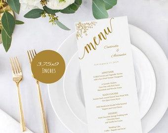 Gold, Wedding Menu 3.75x9 Templates, Editable Wedding Menu, Instant Download, DIY Wedding, Printable Wedding Menu Template, LDS_63