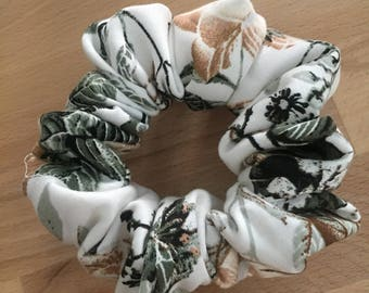 Large Handmade Unique Cotton Scrunchie. Soft cotton in white with a black, brown and grey floral pattern