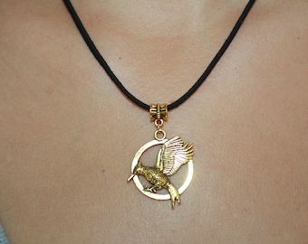 The Hunger Games   Pendant Necklace,  Handmade MockingJay  Pendant Necklace,  Suede Cord  Pendant Necklace,  Gift For Her  Necklace
