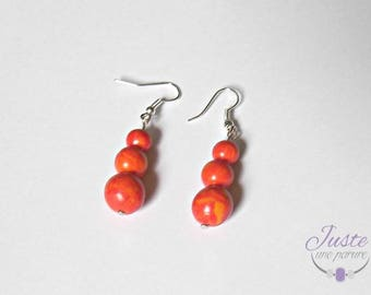 3 polymer clay, shades of orange beads dangling earrings