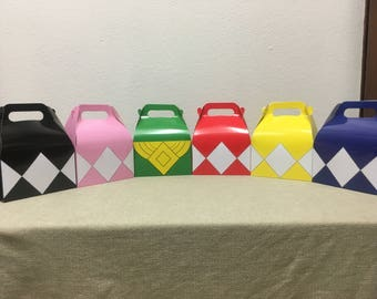 Mighty Morphin Power Rangers Inspired Goody / Goodie / Candy /Party Favor / Treat Boxes (Set of 12)